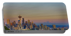 Seattle Skyline At Sunset Hdr Portable Battery Charger
