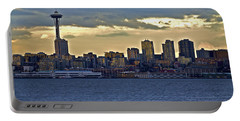 Seattle Skyline In Twilight Portable Battery Charger