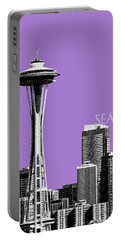 Seattle Skyline Space Needle - Violet Portable Battery Charger