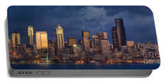 Seattle Skyline Sunset Detail Portable Battery Charger