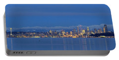 Seattle Surrounded By Blue Portable Battery Charger by E Faithe Lester
