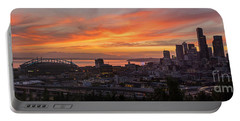 Seattle Under Fiery Skies Portable Battery Charger