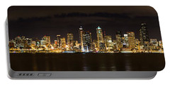 Seattle Waterfront At Night Panoramic Portable Battery Charger by Chris McKenna