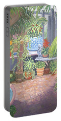 Portable Battery Charger featuring the painting Secret Garden by Karen Zuk Rosenblatt