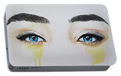 Portable Battery Charger featuring the painting Seeing Into The Soul Secretive by Malinda  Prudhomme