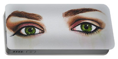 Seeing Into The Soul Serious Portable Battery Charger by Malinda  Prudhomme