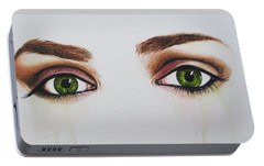 Portable Battery Charger featuring the painting Seeing Into The Soul Serious by Malinda  Prudhomme