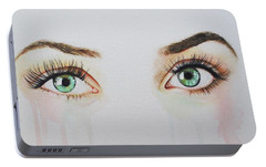 Portable Battery Charger featuring the painting Seeing Into The Soul Sultry by Malinda  Prudhomme