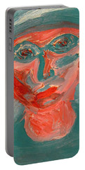 Self Portrait In Turquoise And Rose Portable Battery Charger
