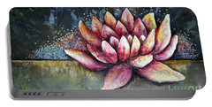 Portable Battery Charger featuring the painting Self Portrait With Lotus by Shadia Derbyshire