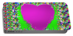 Sensual Pink Heart N Star Studded Background Portable Battery Charger by Navin Joshi