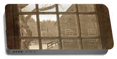 Sepia Colonial Scene Through Antique Window Portable Battery Charger