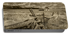 Sepia Colored Photo Of A Wood Fence By The John Moulton Farm Portable Battery Charger by Randall Nyhof