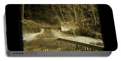 Sepia - Country Road First Snow Portable Battery Charger by Absinthe Art By Michelle LeAnn Scott