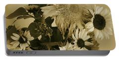 Sepia Garden Sunflower Bouquet Portable Battery Charger