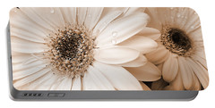 Sepia Gerber Daisy Flowers Portable Battery Charger by Jennie Marie Schell