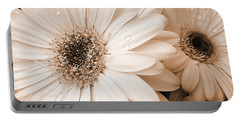 Sepia Gerber Daisy Flowers Portable Battery Charger