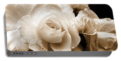 Sepia Roses With Rain Drops Portable Battery Charger