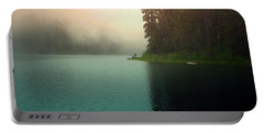 Serenity On Blue Lake Foggy Afternoon Portable Battery Charger