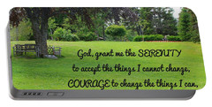 Serenity Prayer And Park Bench Portable Battery Charger
