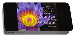 Serenity Prayer With Lotus Flower By Sharon Cummings Portable Battery Charger