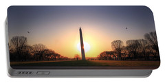 Setting Sun On Washington Monument Portable Battery Charger