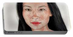Portable Battery Charger featuring the drawing Sexy Freckle Faced Beauty Lucy Liu by Jim Fitzpatrick