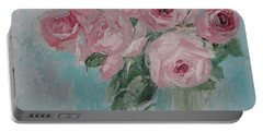 Shabby Chic Pink Roses Oil Palette Knife Painting Portable Battery Charger