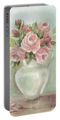 Shabby Chic Pink Roses Painting On Aqua Background Portable Battery Charger