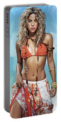 Shakira Artwork Portable Battery Charger by Sheraz A