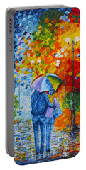 Portable Battery Charger featuring the painting Sharing Love On A Rainy Evening Original Palette Knife Painting by Georgeta Blanaru