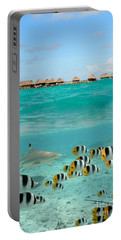 Over-under With Shark And Butterfly Fish At Bora Bora Portable Battery Charger
