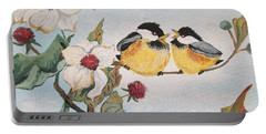 Portable Battery Charger featuring the painting She Said by Sharon Duguay