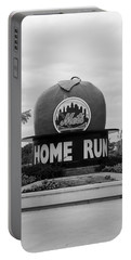 Shea Stadium Home Run Apple In Black And White Portable Battery Charger by Rob Hans