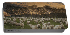 Sheep Flock At Dawn Arrowtown Otago New Portable Battery Charger