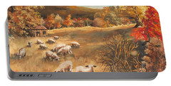 Sheep In October's Field Portable Battery Charger by Joy Nichols