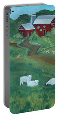 Portable Battery Charger featuring the painting Sheeps In The Meadow by Virginia Coyle