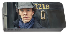 Portable Battery Charger featuring the painting Sherlock Holmes Artwork by Sheraz A