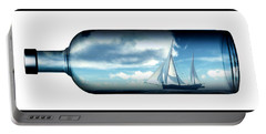 Portable Battery Charger featuring the digital art Ship In Bottle... by Tim Fillingim