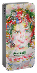 Shirley Temple - Watercolor Portrait.1 Portable Battery Charger by Fabrizio Cassetta