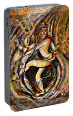 Portable Battery Charger featuring the painting Shiva Eternal Dance by Harsh Malik