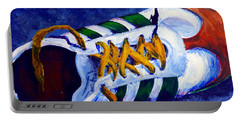 Portable Battery Charger featuring the painting Shoeless by Jackie Carpenter