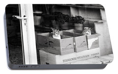 Portable Battery Charger featuring the photograph Shop Window Cats by Laura Melis