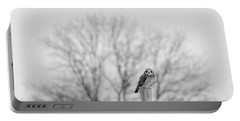 Short-eared Owl In Black And White Portable Battery Charger