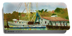 Shrimp Boat At Dock Portable Battery Charger