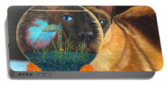 Portable Battery Charger featuring the painting Siam I Am by Karen Zuk Rosenblatt