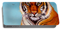Portable Battery Charger featuring the painting Siberian King Tiger by Bob and Nadine Johnston