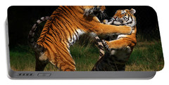 Siberian Tigers In Fight Portable Battery Charger by Nick  Biemans