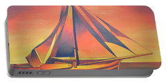 Portable Battery Charger featuring the painting Sienna Sails At Sunset by Tracey Harrington-Simpson