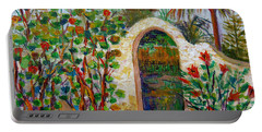 Portable Battery Charger featuring the painting Siesta Key Archway by Lou Ann Bagnall